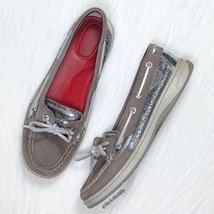 Sperry gray boat shoes with metallic silver